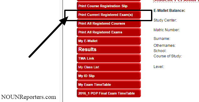 How to Print Noun Registered Courses for Examination
