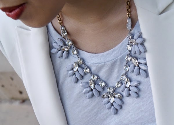 J. Crew Factory crystal leaf statement necklace