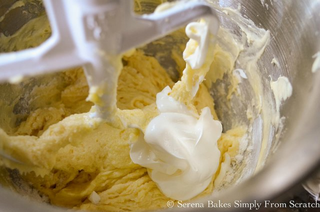 Mix Sour Cream into Apple Coffee Cake batter from Serena Bakes Simply From Scratch.