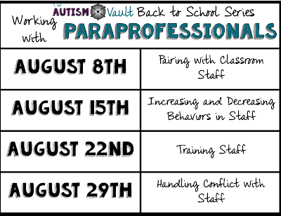 As special education teachers, we rely heavily on our paraprofessionals to help us get everything we need done.  We are put in to the role of manager that, frankly, many of us are not prepared for.  In our Back to School blog series, we will discuss strategies for working with paraprofessionals that will lead to postive outcomes.