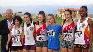 Il podio Ragazze con: Di Mugno-Lombardi-Kabangu (foto M. Saddi)
