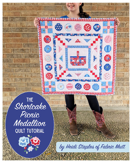 Shortcake Picnic Medallion Quilt Tutorial by Heidi Staples of Fabric Mutt for Riley Blake Designs