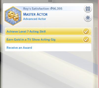 When will my sim be able to get an award in actor career? — The Sims