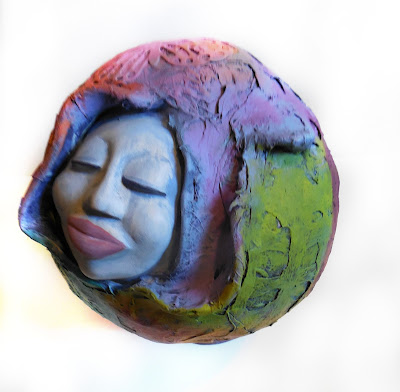 Goddess Art Woman Face in Sphere Gourd and Clay Sculpture