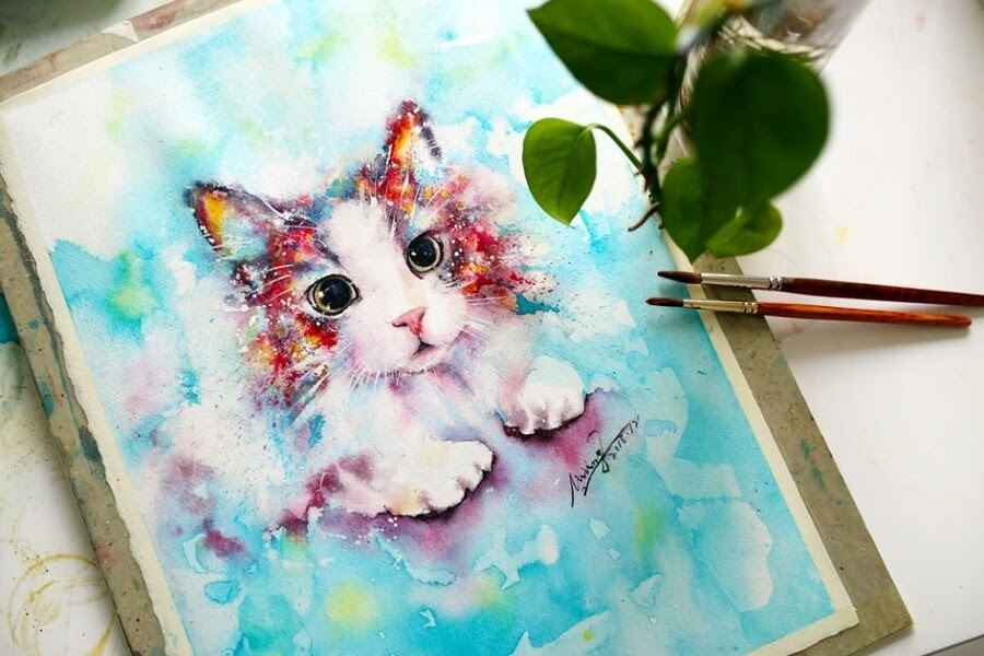 12-Cat-Watercolor-Paintings-liviing-www-designstack-co