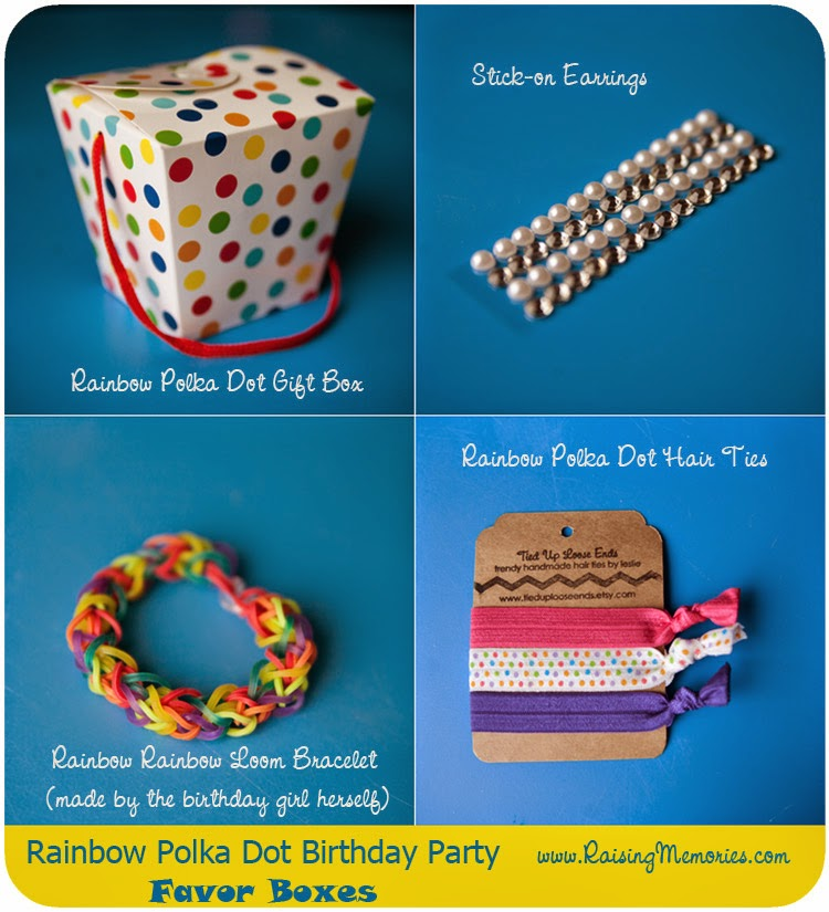Rainbow Polka Dot Party Favors at www.RaisingMemories.com