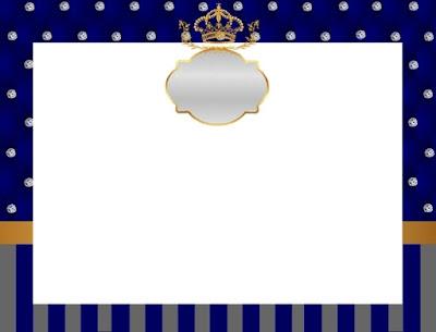Para hacer invitaciones, tarjetas, marcos de fotos o etiquetas, para imprimir gratis de Corona Dorada en Azul y Brillantes.