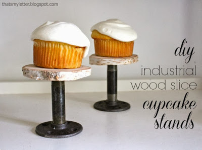 diy wood and pipe cupcake stands