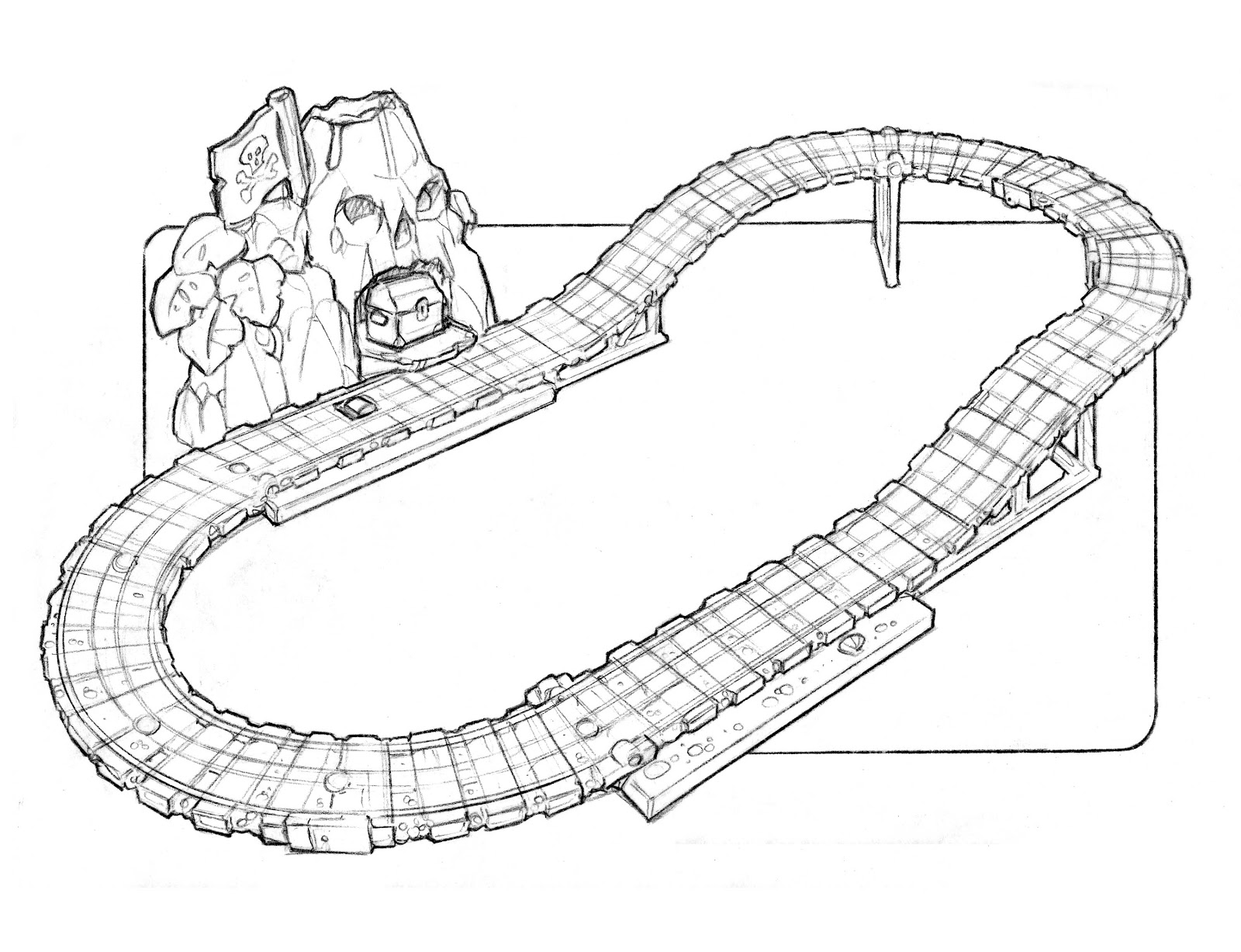 The case was similar for the 'blue mountain' quarry climb set which initially employed a very cool mechanism the mode of track play changed when a knob is