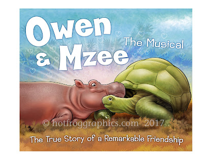 finished illustration of Owen and Mzee hippo and tortoise