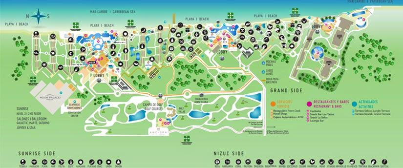 Onde ficar em Cancun - mapa Moon Palace Resort