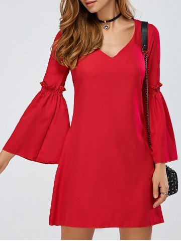 V-Neck Bell Sleeve Ruffle Short A Line Dress - Red - S