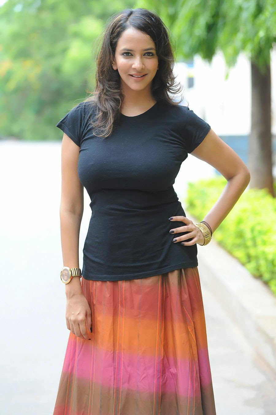 Lakshmi Manchu Hot Black Thight Dress Big Boobs Exposed -8837