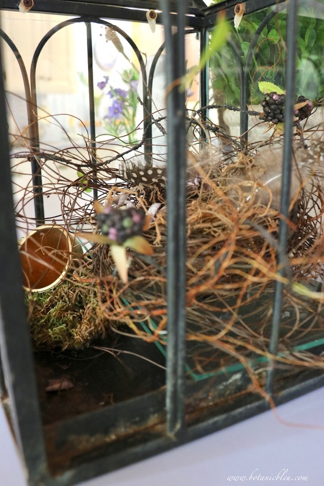 kitchen island DIY nest with angel vines, spotted bird feathers