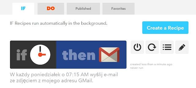 Ustawienia IFTTT cyklicznie wysyłany e-mail raz w tygodniu