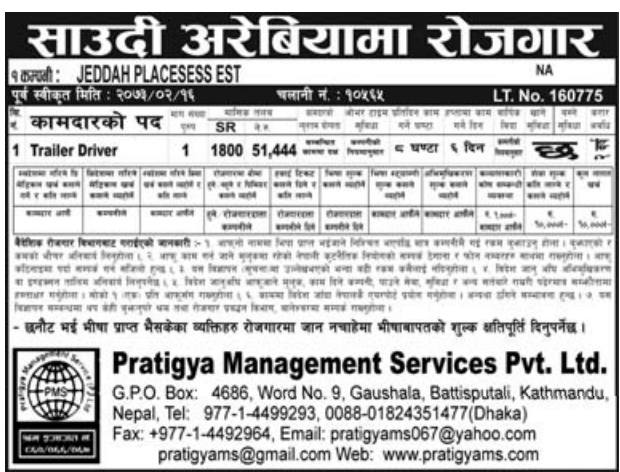 Jobs For Nepali In Saudi Arabia, Salary -Rs.51,000/