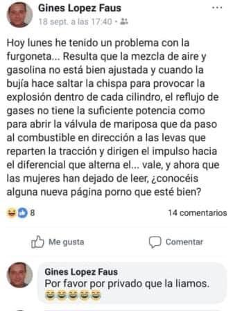 Ginés López Faus, problema, furgoneta