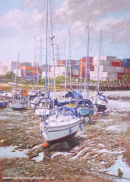 Martin davey oil painting boats at Totton Southampton