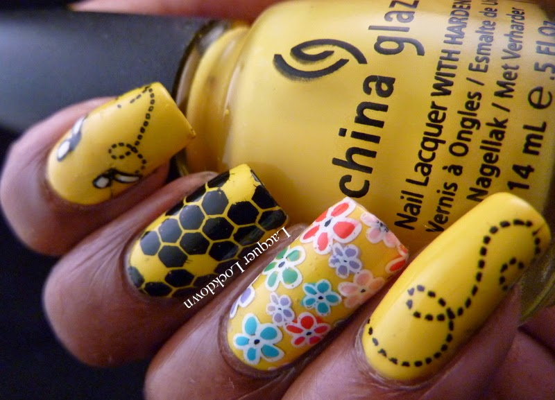 Lacquer Lockdown - China Glaze Happy Go Lucky, Vivid Lacquer, VL001, VL002, VL008, stamping, nail art, bumblebee nails, bumblebee nail art, bee nail art, diy nail art, cute nails, cute nail art ideas, pueen 2014, beez in a trap, spring nails, spring nail art ideas, honey bees, beehive, flowers, spring flower nail art, floral nail art, Mundo de Unas #2 stamping polish