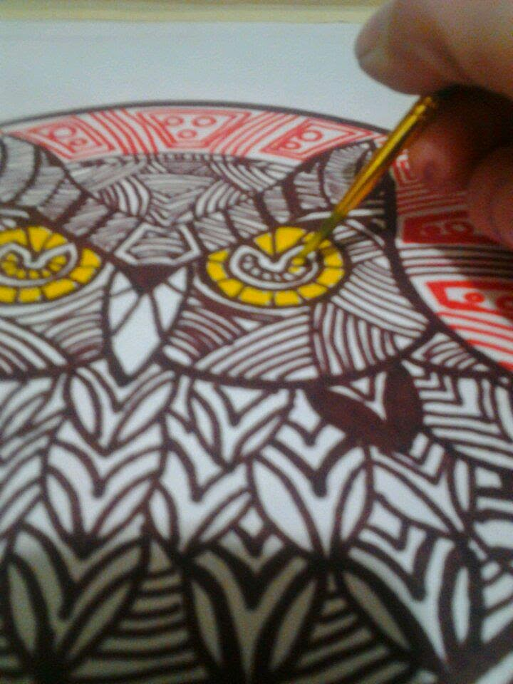 Owl Watercolor Step 4 by Gloria Gypsy