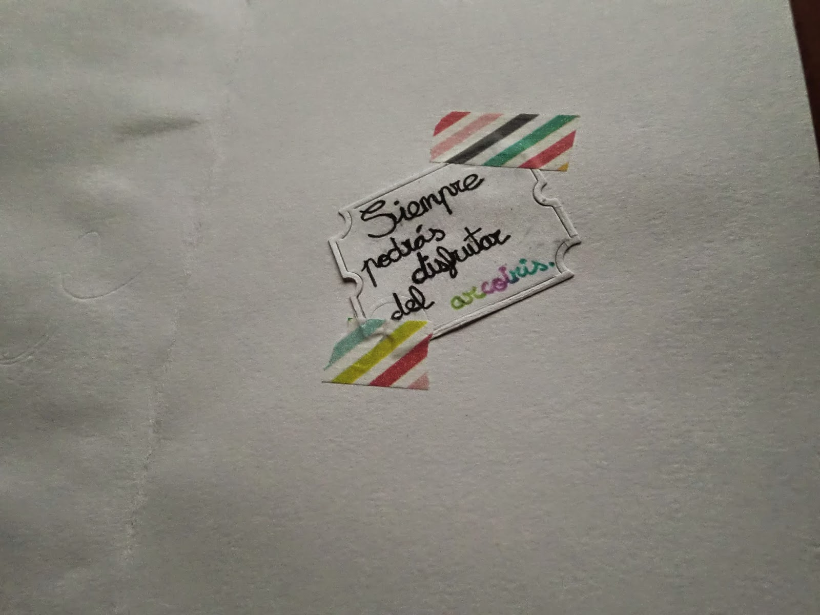"""Detalle del interior de la tarjeta """"Siempre podrás disfrutar del arcoiris"""""""
