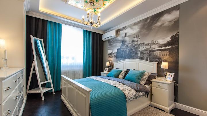 Cortina colorida dormitorio moderno