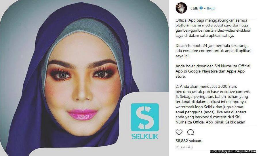 Siti Nurhaliza Artis Pertama Ada Aplikasi Sendiri
