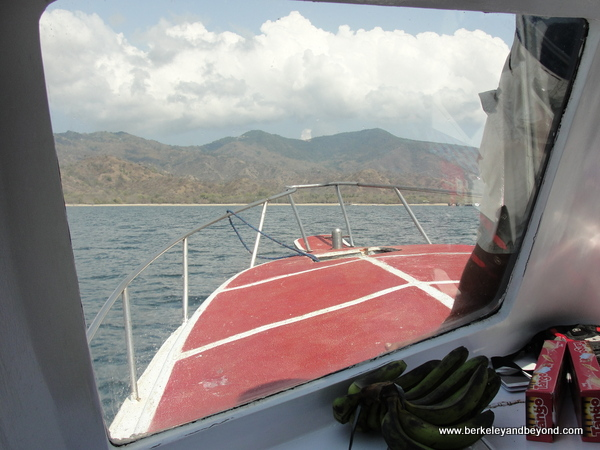 approaching Komodo Island in Indonesia