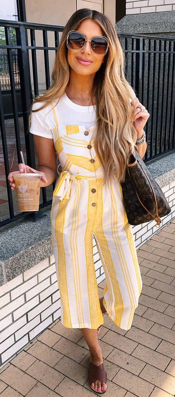summer look | white tee + yellow striped jumpsuit + bag + brown flip-flop