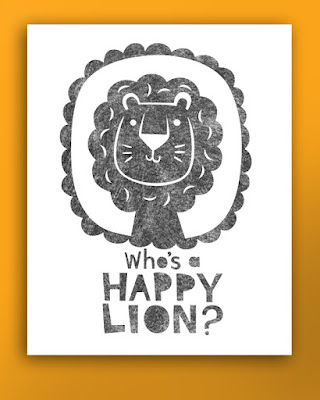 monochrome nursery picture of a happy lion