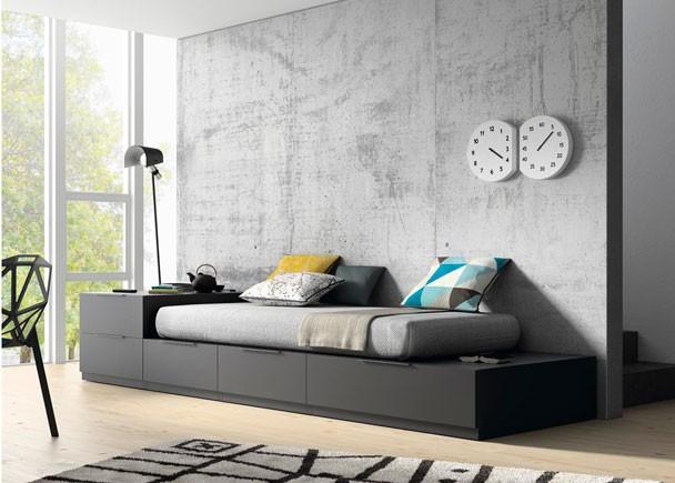 Cama juvenil con cajones gris vulcano - Dormitorios juveniles modernos de diseno ...