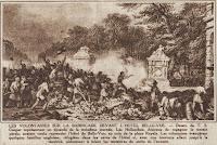 """Barrikade ter verdediging van het hotel """"Belle-Vue"""" op de hoek van het Koningsplein."""