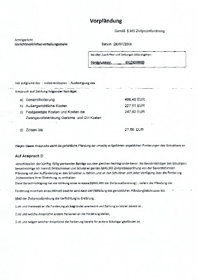 Anschreiben Fox Opper Forderungs Management, Vorpfändung | 26.07.2016