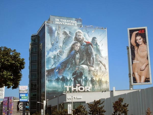Giant Thor 2 Dark World movie billboard
