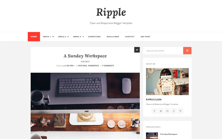 Ripple Clean Free Blogger Template