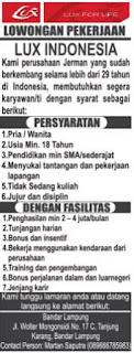 Lowongan Kerja Lampung Terbaru April 2017 Dari LUX Indonesia