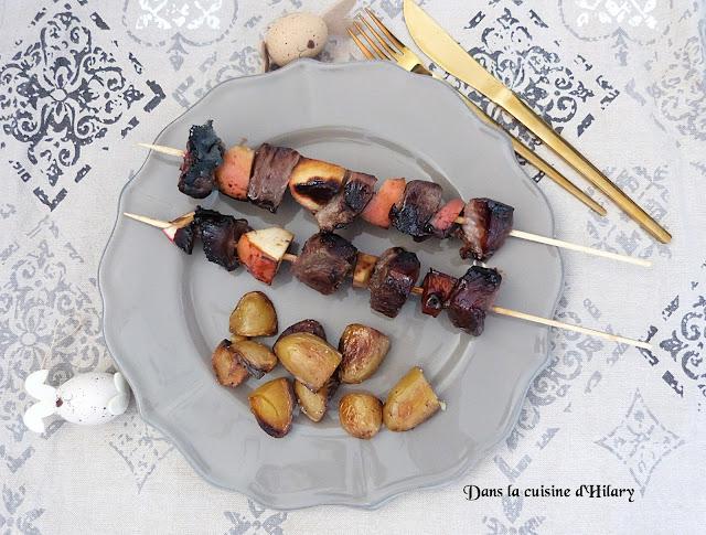 Brochettes de canard aux pommes laqués - Dans la cuisine d'Hilary