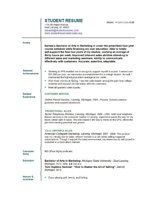 College Resume Template Word | Resume Template And Professional Resume