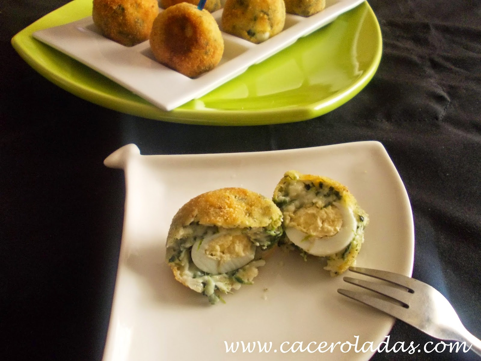Croquetas de espinacas con huevo de codorniz