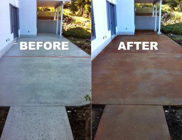Attirant Acid Stain Concrete Patio Before And After