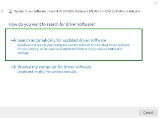 Update Driver Network Adapter untuk Mengatasi masalah jaringan internet Windows 10