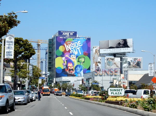 Giant Inside Out movie billboard Sunset Plaza