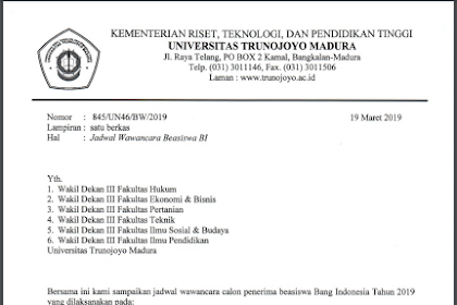 PENGUMUMAN JADWAL WAWANCARA CALON PENERIMA BEASISWA REGULER BI TAHUN 2019