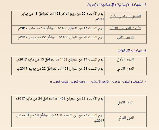 بالصور جدول مواعيد امتحانات الشهادات الأزهرية 2016 - 2017 ثانوى - إعدادى - ابتدائى - بعوث