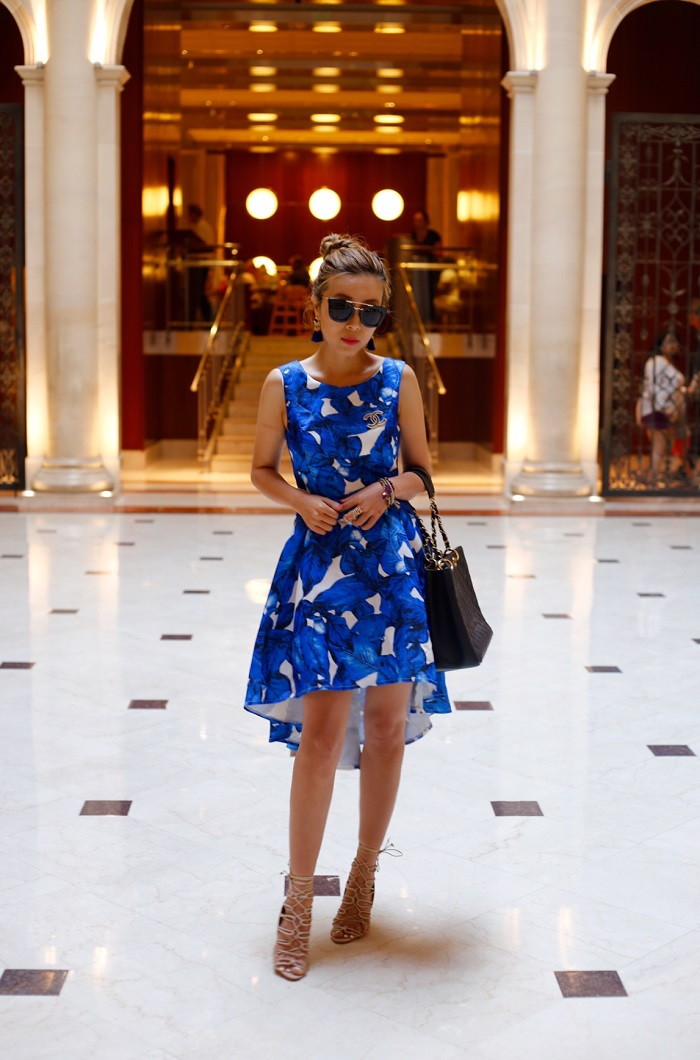 shein floal high low dress, chi chi london floral high low dress, baublebar tassel drops, tassel earrings, chanel shopping bag, chanel bag, schutz laceup sandals, prada sunglasses, nastygal do it better, fashion blog, new york city , new york fashion blog