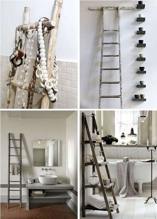 Natural modern interiors decorating with ladders in - Decorative ladder for bathroom ...