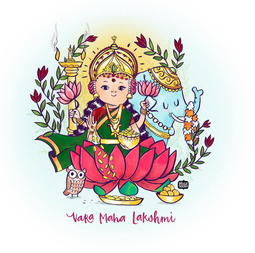 Maha Lakshmi illustration