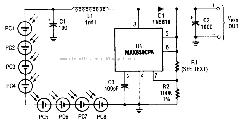 circuit diagram of photocell power supply  max630