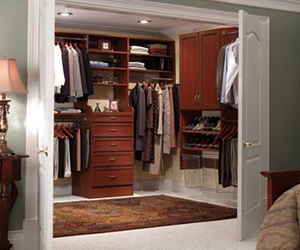 closet with organized clothes and shoes