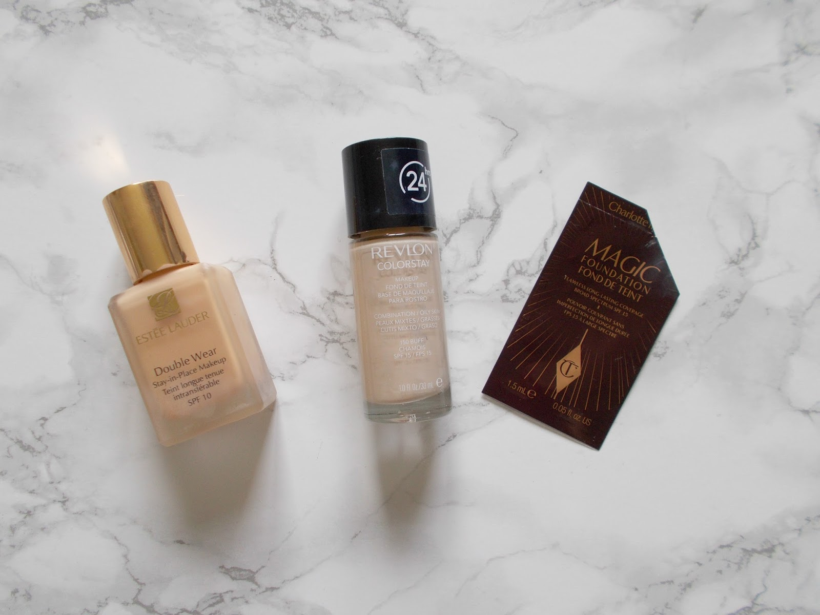 makeup empties review estee lauder double wear desert beige revlon colourstay charlotte tilbury magic foundation